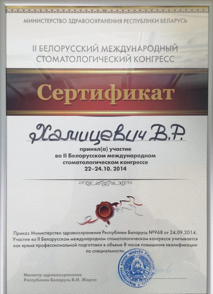 2-й белорусский международный стоматологический конгресс, г. Минск 2014 г.
